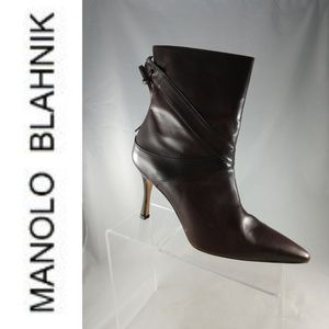 Manolo Blahnik Women's Dark Brown Leather Bootie